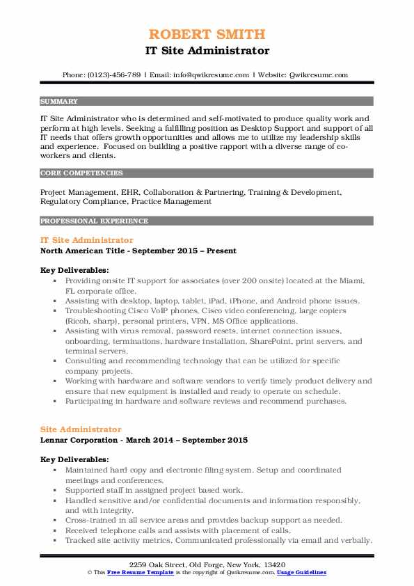 IT Site Administrator Resume Format