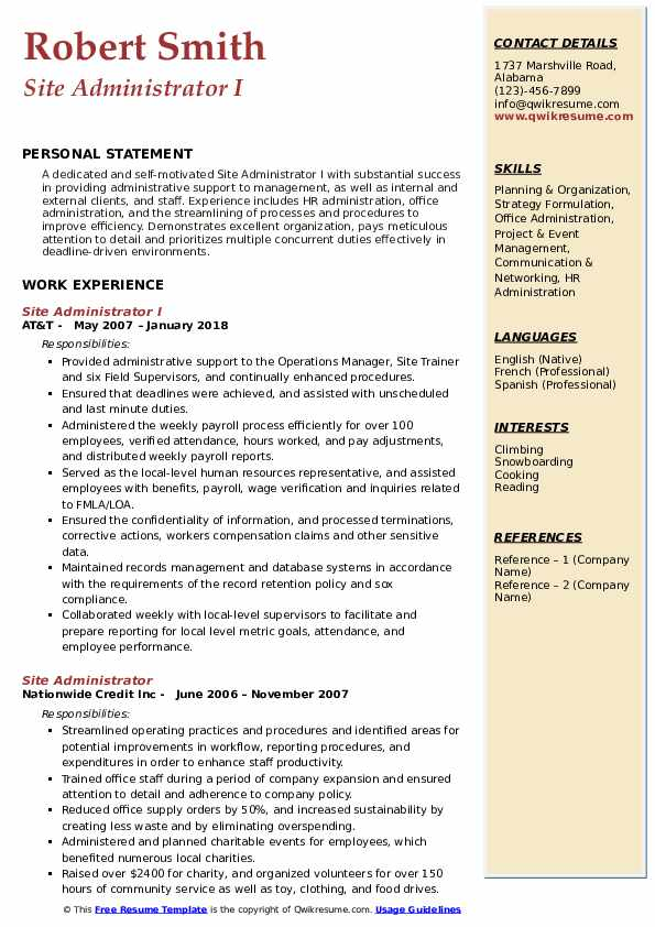 Site Administrator I Resume Sample