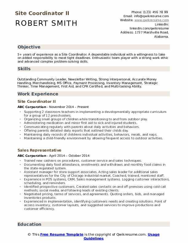 Site Coordinator II Resume Model