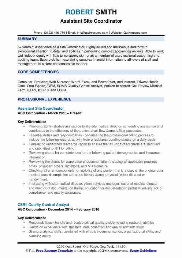 Assistant Site Coordinator Resume Template