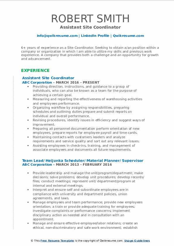 Assistant Site Coordinator Resume Sample