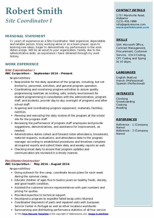 Site Coordinator I Resume Format