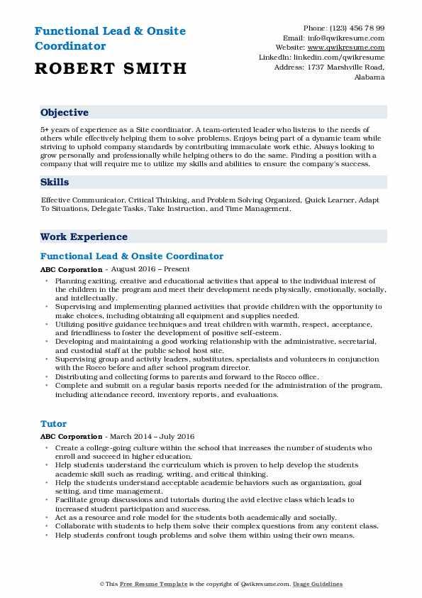 Functional Lead & Onsite Coordinator Resume Example