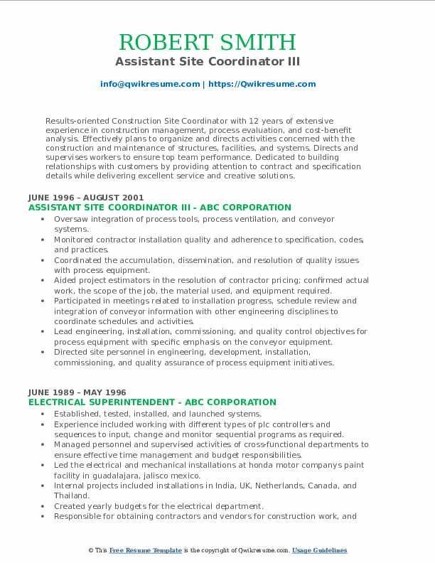 Assistant Site Coordinator III Resume Template