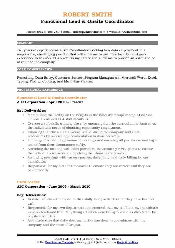 Functional Lead & Onsite Coordinator Resume Model