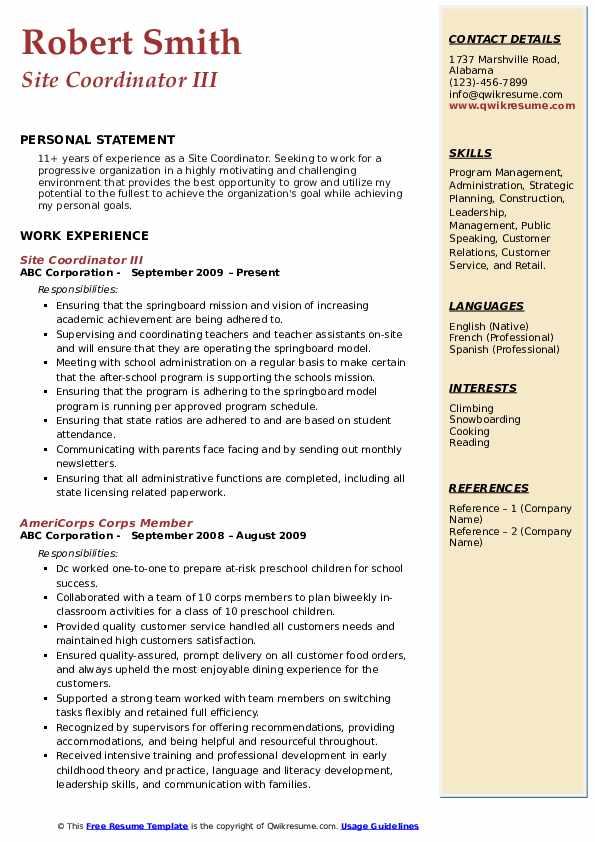 Site Coordinator III Resume Model