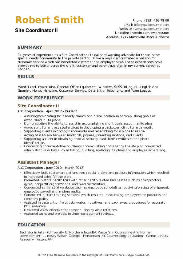 Site Coordinator Resume example