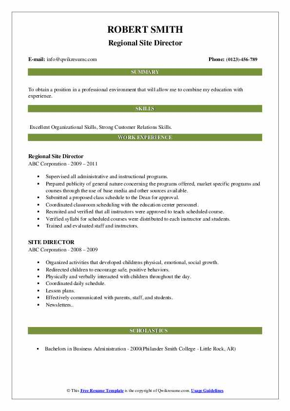 Regional Site Director Resume Template