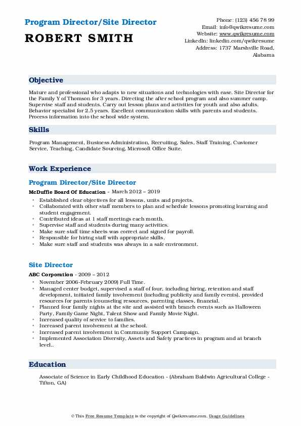 Program Director/Site Director Resume Sample