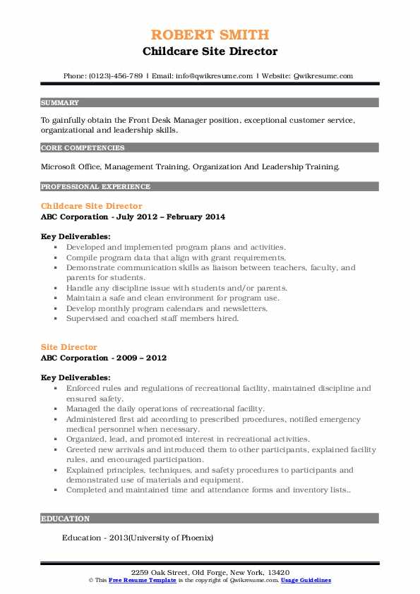 Childcare Site Director Resume Example