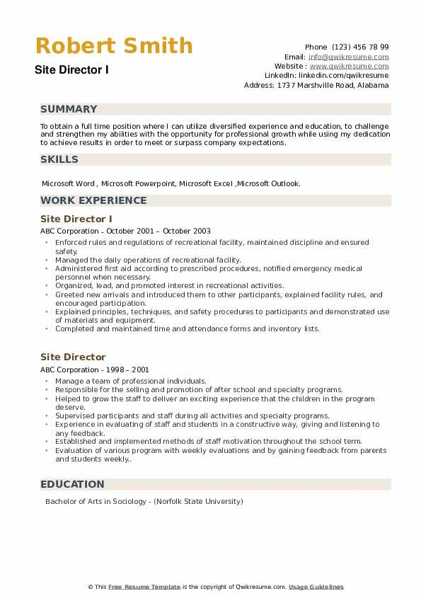 Site Director I Resume Template