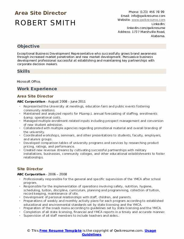 Area Site Director Resume Template