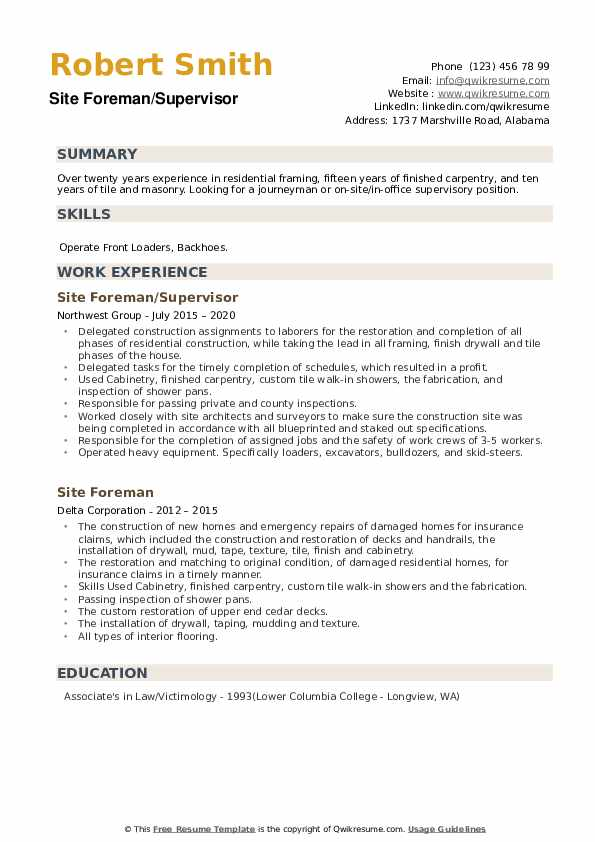 Site Foreman Resume example