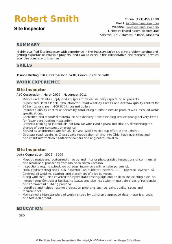 Site Inspector Resume example