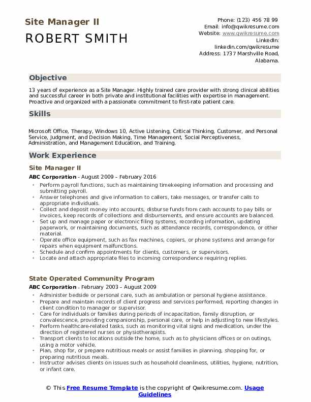 Site Manager II Resume Model
