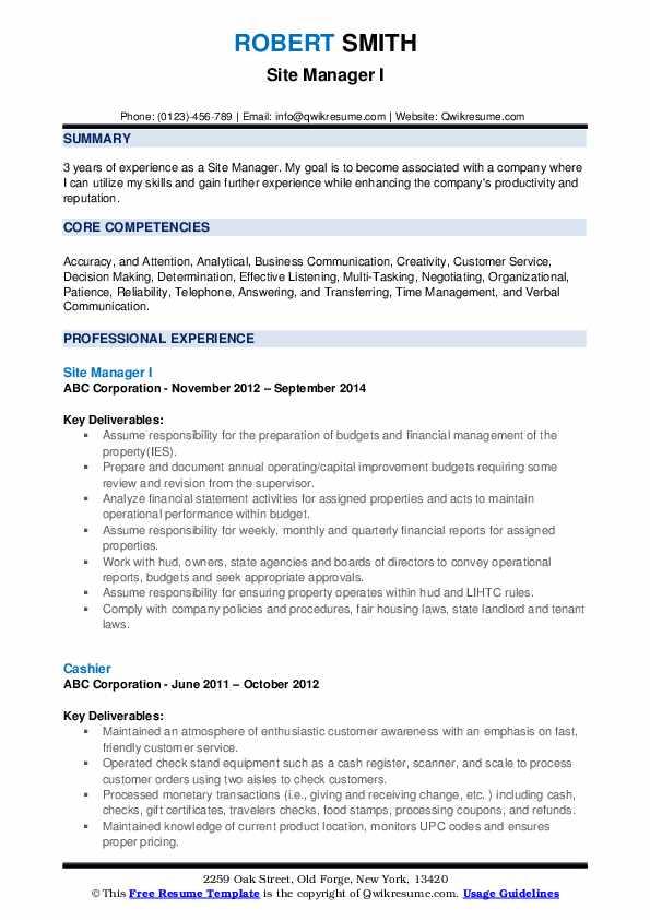 Site Manager I Resume Format