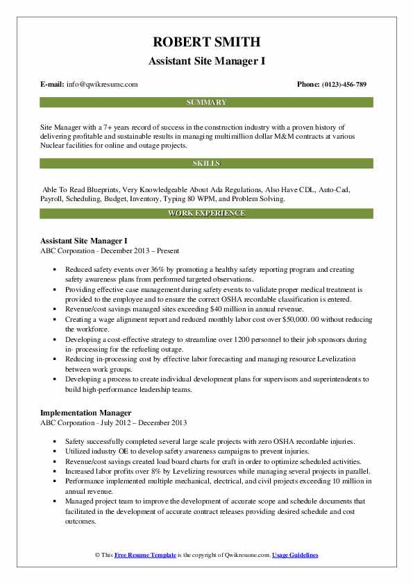 Assistant Site Manager I Resume Example