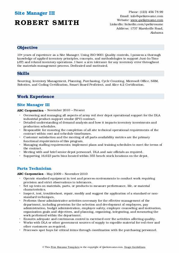 Site Manager III Resume Sample