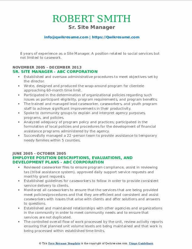 Sr. Site Manager Resume Model