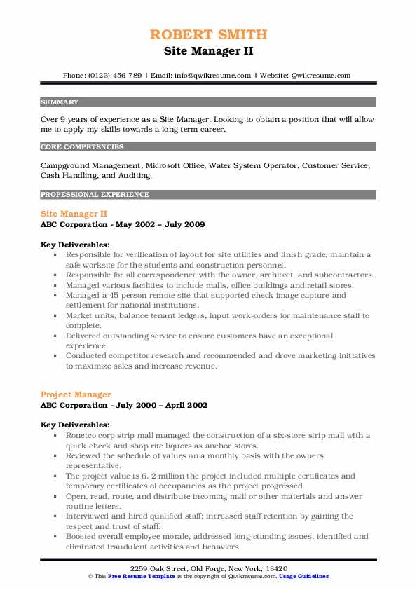 Site Manager II Resume Format