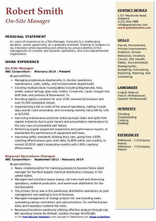 On-Site Manager Resume Example