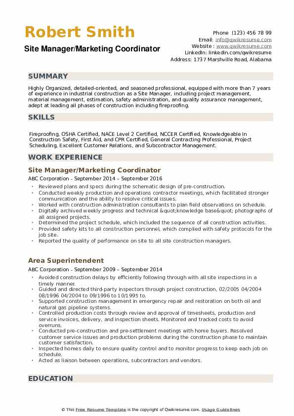 Site Manager Resume example