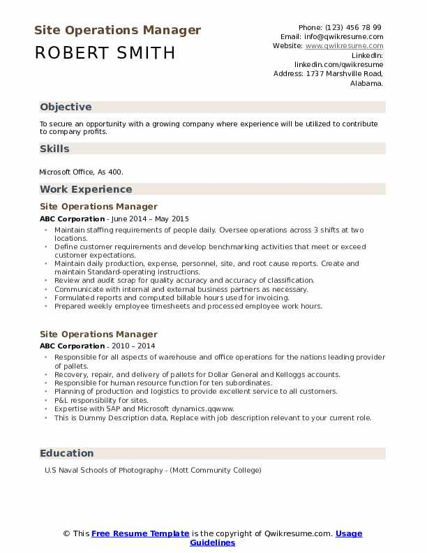 Site Operations Manager Resume example