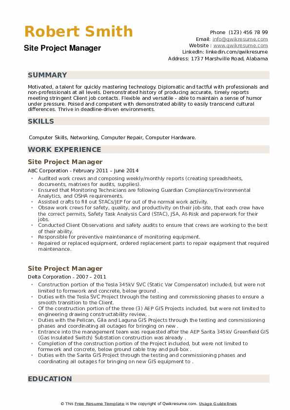 Site Project Manager Resume example
