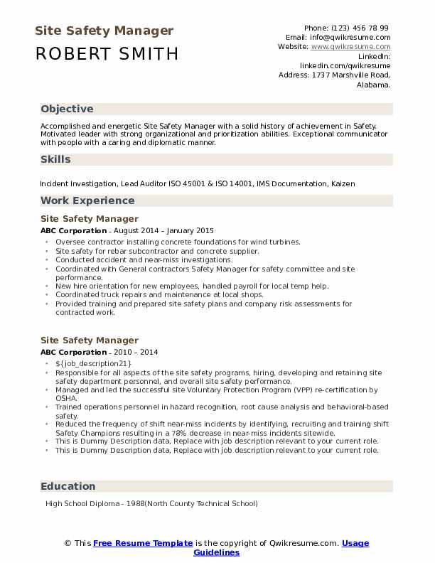 Site Safety Manager Resume example