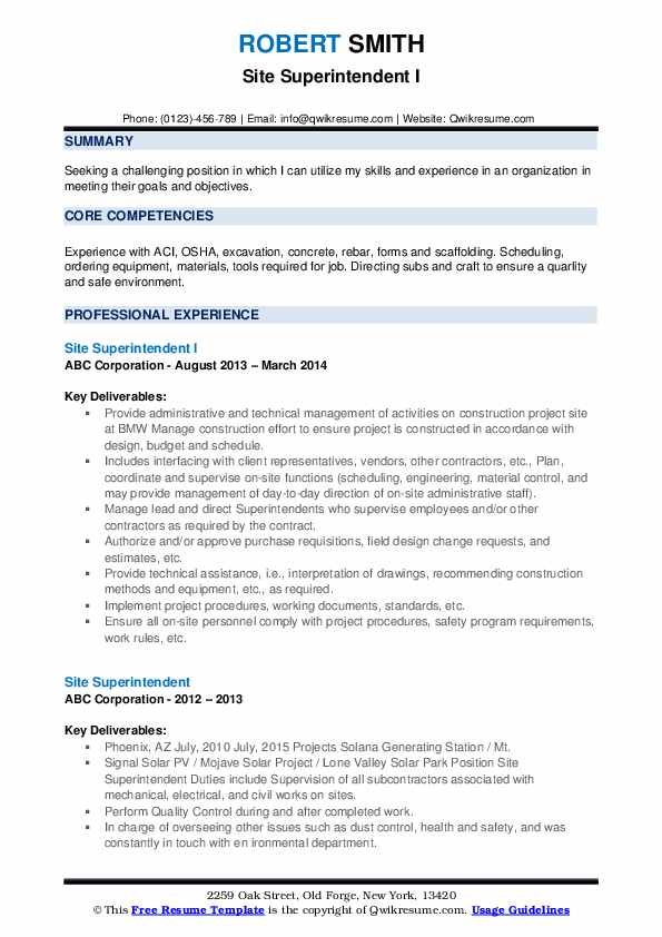 Electrical Superintendent Resume Model
