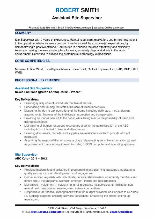 Assistant Site Supervisor Resume Format