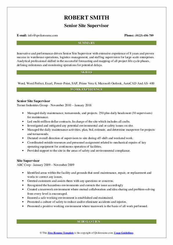 Senior Site Supervisor Resume Sample