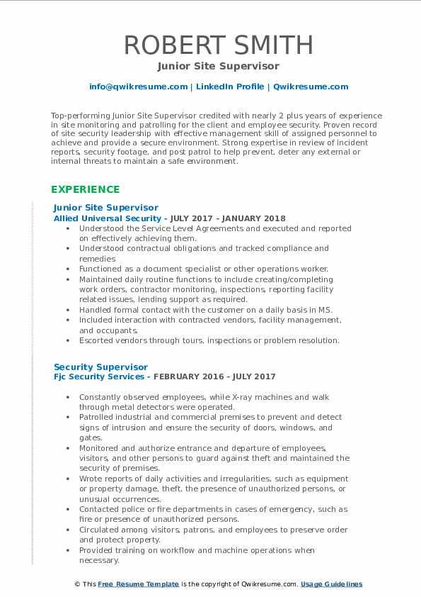 Junior Site Supervisor Resume Model