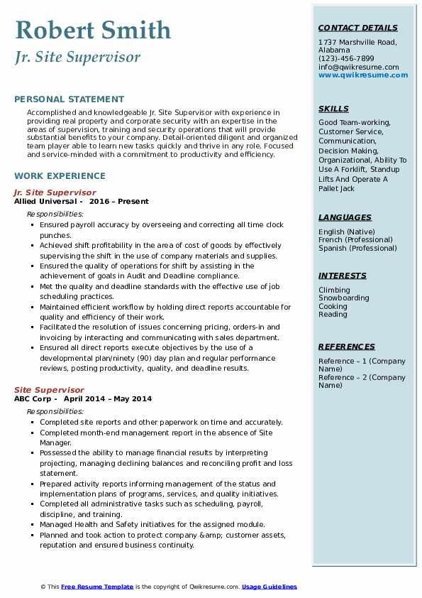 Jr. Site Supervisor Resume Model