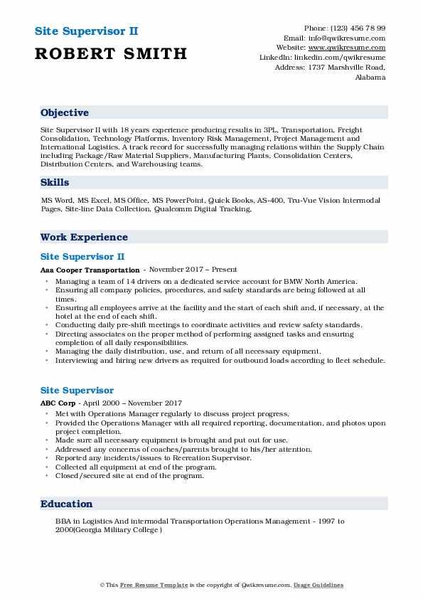 Site Supervisor II Resume Sample