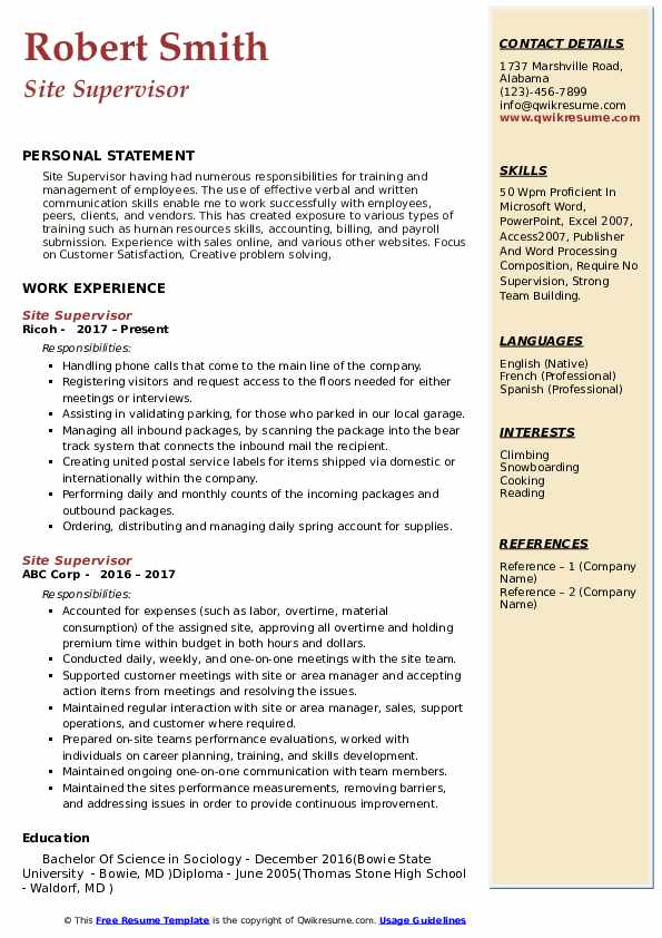 site supervisor resume samples