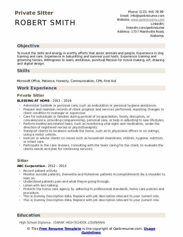Private Sitter Resume Sample