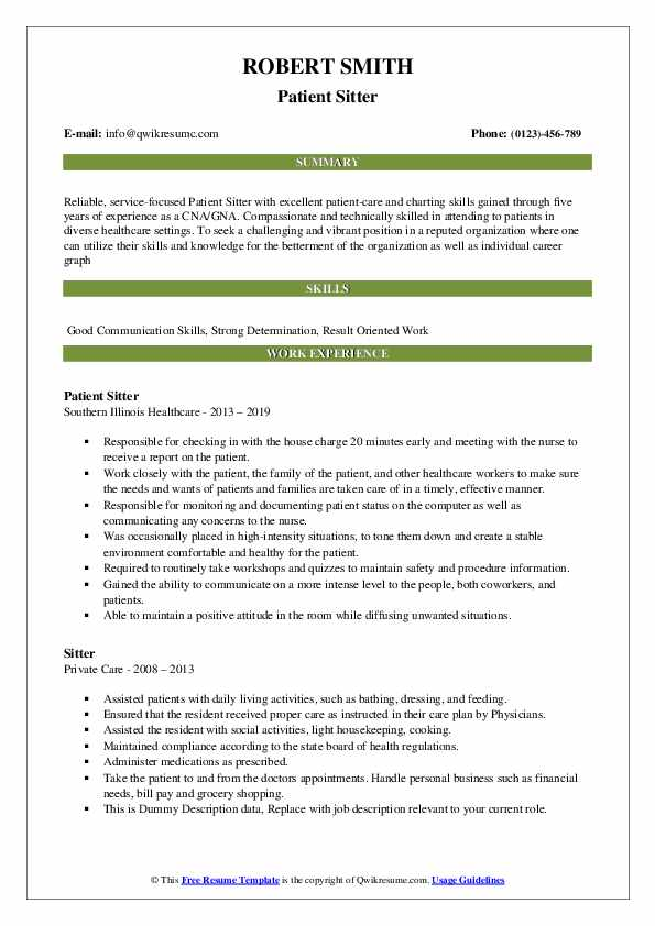 Patient Sitter Resume Template