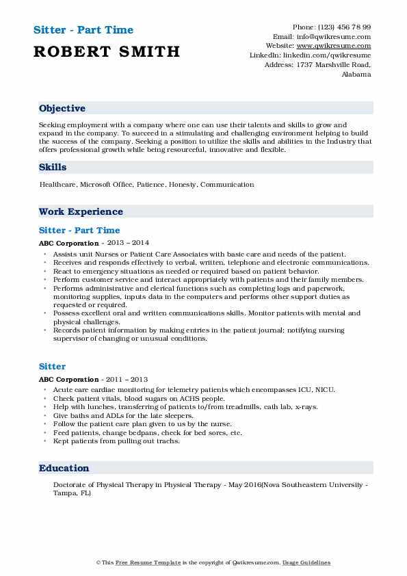 Sitter - Part Time Resume Template