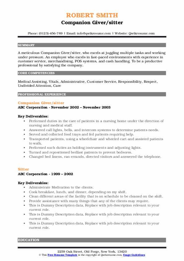 Companion Giver/sitter Resume Format