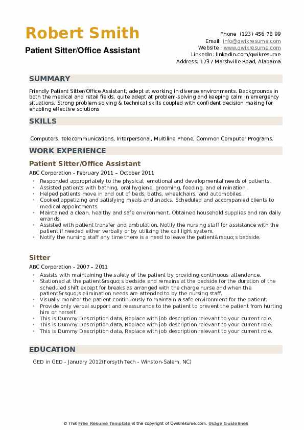 Patient Sitter/Office Assistant Resume Format