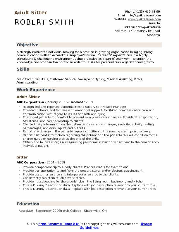 Sitter Resume example