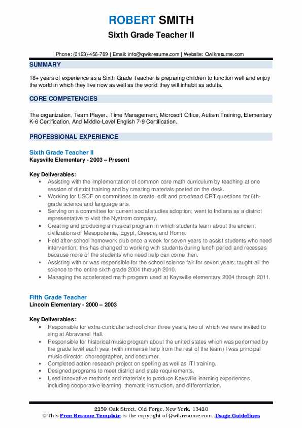 Sixth Grade Teacher II Resume Format