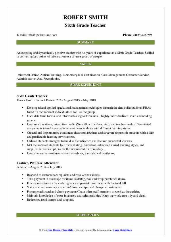 Sixth Grade Teacher Resume Model