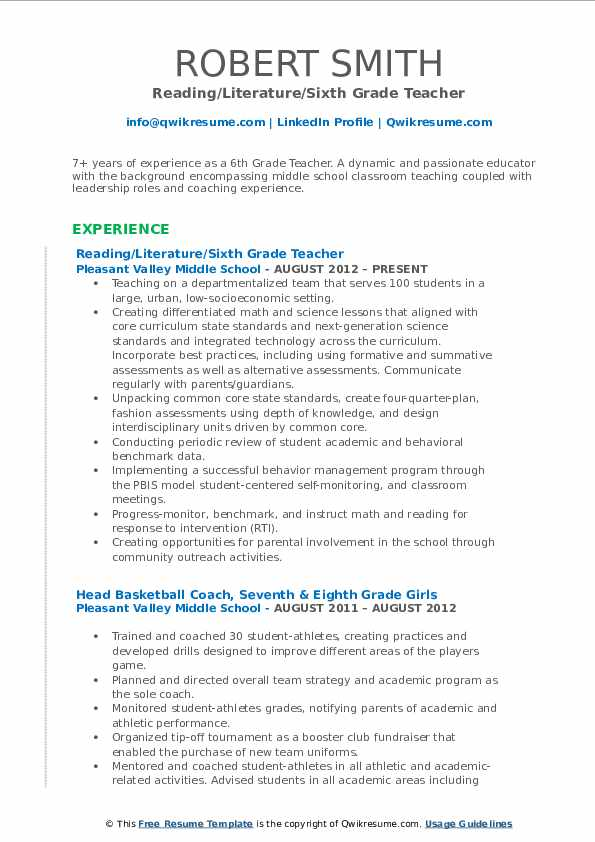 Reading/Literature/Sixth Grade Teacher Resume Model
