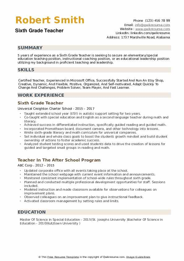 Sixth Grade Teacher Resume example