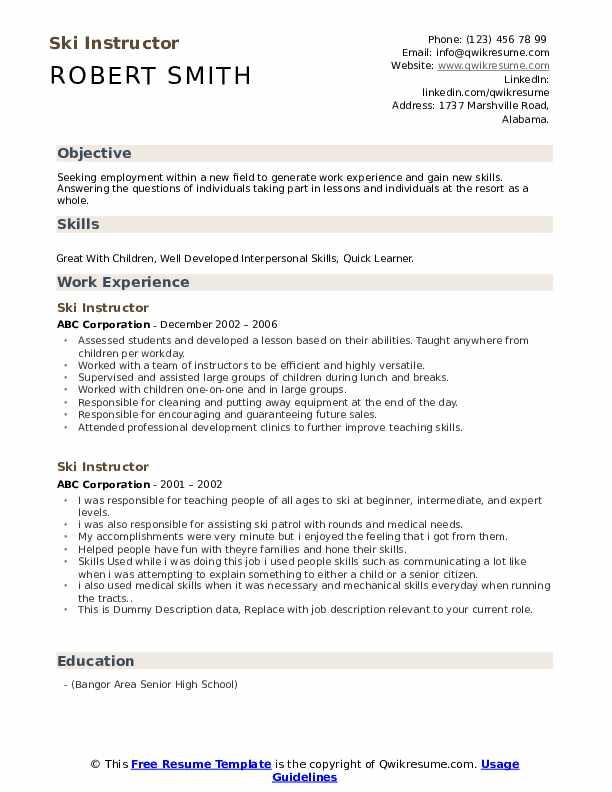 SKI Instructor Resume example