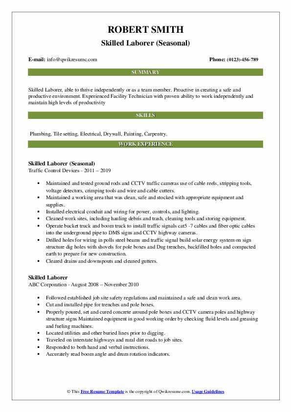 Skilled Laborer (Seasonal) Resume Model