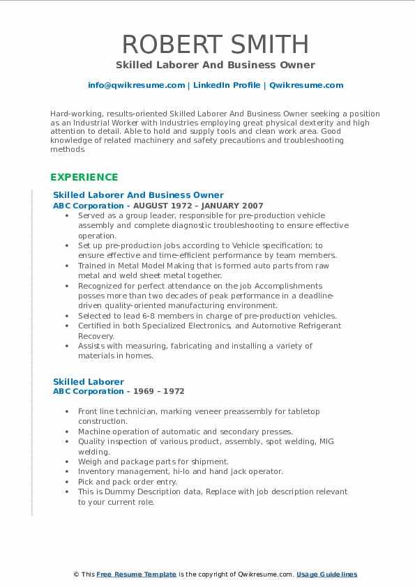 Skilled Laborer And Business Owner Resume Model