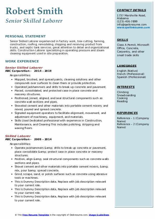 Senior Skilled Laborer Resume Format